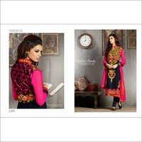 Pinky Black Multi Embroidered Straight Salwar Kameez