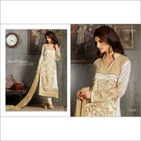 Creamy White Full Embroidered Straight Suit