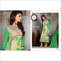 Beige Green Embroidered Straight Salwar Suit