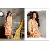Trandy Yellow Embroidered Straight Suit
