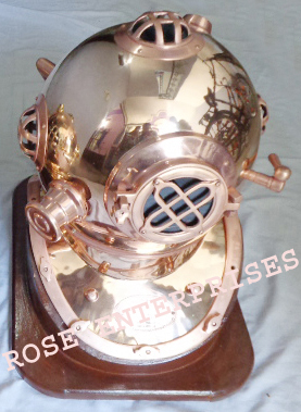 Copper Antique Nautical Brass Diving Helmet with Wooden Base