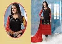 Red And Black Pure Chiffon Resham Work Salwar Kameez