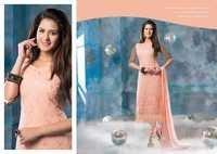 Peachy  Pure Chiffon Resham Work Salwar Kameez