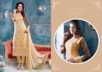 Cream Pure Chiffon Resham Work Salwar Kameez