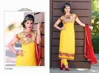 Yellow Semi Georgette Straight Suit