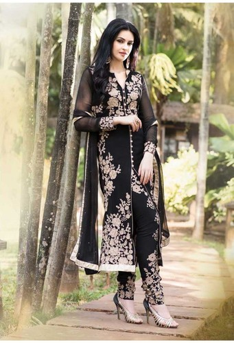 Embroidered Designer Dark Black Straight Suits