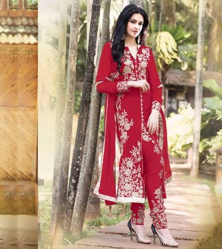 Latest Embroidered Designer Dark Red Straight Suits