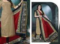 Beige Black Low Range Bhagalpuri Silk Suit