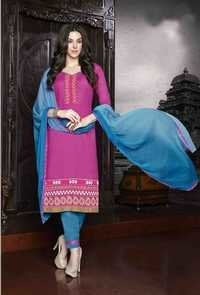 Pink Regular Wear Embroidered Cotton Salwaar Kameez