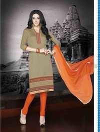 Beige Orange Regular Wear Embroidered Cotton Salwar Kameez