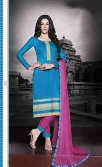 Turquoise Regular Wear Embroidered Cotton Salwaar Kameez