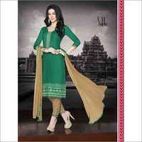 Green Regular Wear Embroidered Cotton Salwaar Kameez