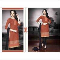 Browny Black  Regular Wear Embroidered Cotton Salwaar Kameez