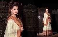 Diya Mirza Creamy Red Heavy Suits