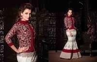 Diya Mirza Heavy Maroon Velevet Choli Suit
