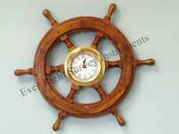 Wooden Ship Wheel with Clock