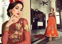 Eid Special Browny Orange Pure Net Anarkali Suit