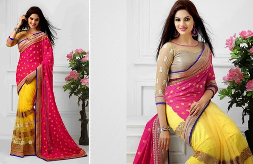 Attractive Embroidered Saree