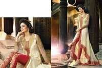 Creamy Red Georgette Embroidered Anarkali Suit