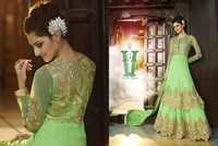 Sea Green Georgette Embroidered Double Jul Anarkali Suit