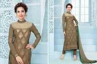 Esha Gupta Embroidered Maroon Georgette Salwar Kameez Beige