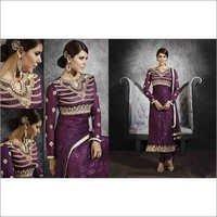 Full Embroidered Neck Violet Brasso Straight Salwar Kameez