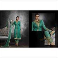 Full Embroidered Neck Sea Green Brasso Straight Salwar Kameez