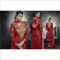 Full Embroidered Neck  Red Brasso Straight Salwar Kameez