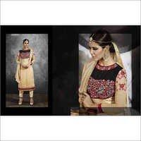 Full Embroidered Neck  Cream Brasso Straight Salwar Kameez