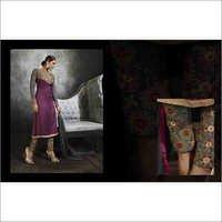 Full Embroidered Neck  Grey Violet Brasso Straight Salwar Kameez
