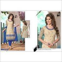 Designer White Chanderi Cotton Salwar Kameez