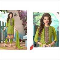 Designer Parrot Green  Chanderi Cotton Salwar Kameez