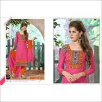 Designer Pink Chanderi Cotton Salwar Kameez