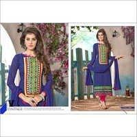 Designer Violet Chanderi Cotton Salwar Kameez