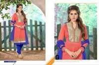 Designer Peach Chanderi Cotton Salwar Kameez