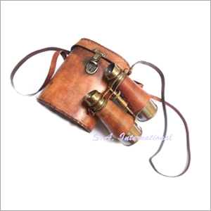 Antique Leather Binoculars with leather holster