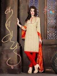 Beige Red  Low Range Cotton Salwar Kameez