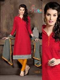 Red And Yellow  Low Range Cotton Salwar Kameez