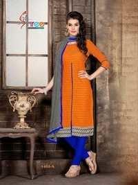 Orange And Blue  Low Range Cotton Salwar Kameez