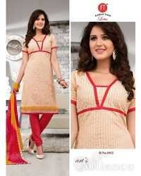Cream and Red Low Range Designer Chanderi Suit