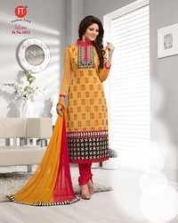 Red and Yellow Low Range Designer Chanderi Suit