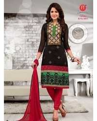 Black Low Range Designer Chanderi Suit