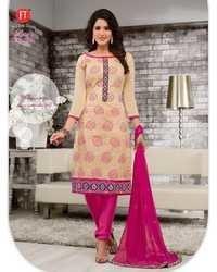 Beige Pink Low Range Designer Chanderi Suit