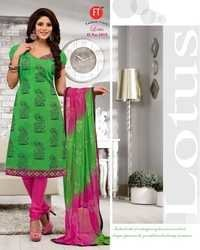 Leafy Green Low Range Designer Chanderi Suit