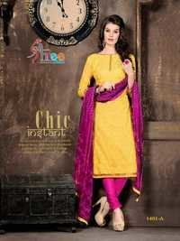 Pinky Yellow Low range Chanderi Suit