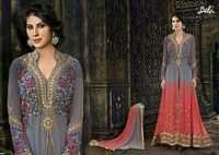 Shiny Gray Peach Embroidered Anarkali Suit