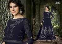 Shiny Navy Embroidered Anarkali Suit