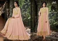 Shiny Peachy Silk Embroidered Anarkali Suit