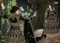 Shiny Black Embroidered Anarkali Suit