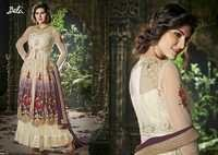Shiny Cream Embroidered Anarkali Suit